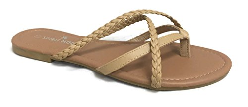 Girls Club Alva Strappy Flip Flops Summer Sandal Criss Cross Double Straps, Natural Braided, 7
