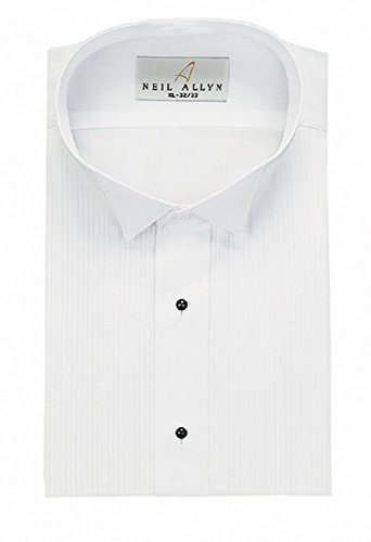 Neil Allyn Wing Collar 1/8'' Pleat Tuxedo Shirt,White,Large(16.5 - 34/35) by Neil Allyn