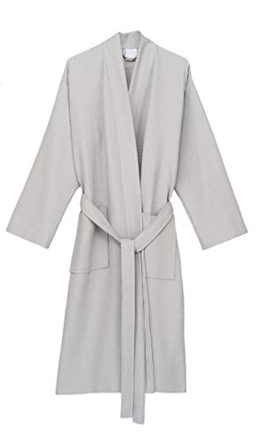 TowelSelections Men's Robe, Kimono Waffle Spa Bathrobe Small/Medium Lunar Rock