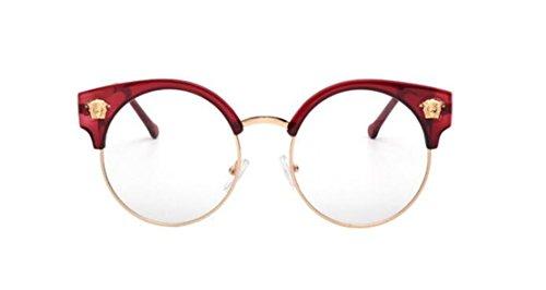 [GAMT Retro Round Frame Glasses Frame Brand Design Red wine] (Cheap Nerd Glasses)