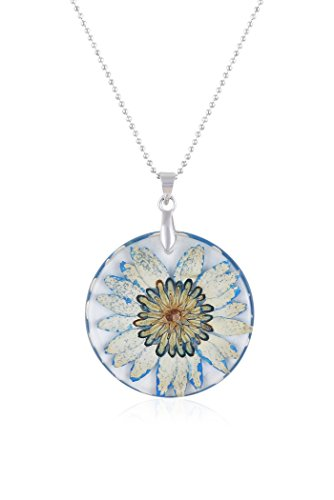 Fasherati Dried Flower Collar Glass Shape Pendant for girls