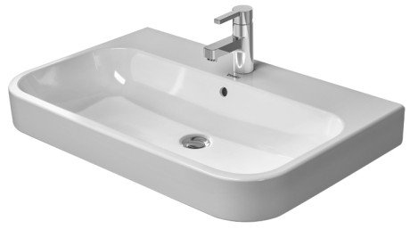 (Happy D.2 Furniture washbasin with overflow, with tap platform, overflow clip chrome included, 25 5/8
