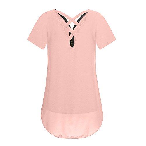 OrchidAmor Women Loose Office 2019 Printer Chiffon Short Sleeve Tank V-Neck Zipper Hem Scoop T Shirts Tops Pink