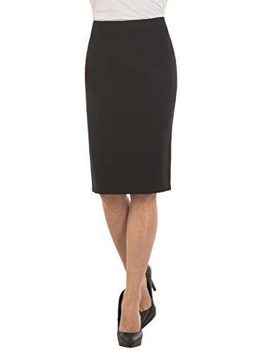 Velucci Womens High Waist Pencil Skirt - Knee High - Zipper - Back Slit, Black-XL - Lined Pencil Skirt