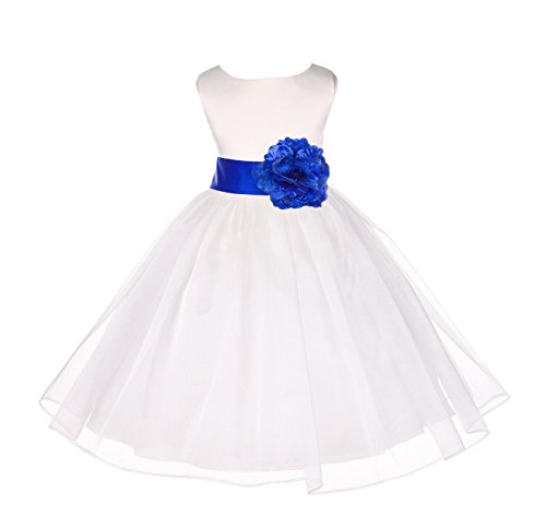 Ivory Satin Bodice Organza Skirt Flower Girl Dress Holy Communion Dress 841S 6 ()