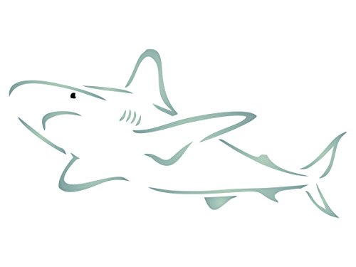 Shark Stencil - 12 x 6 inch (L) - Reusable Sea Ocean Nautical Seashore Reef Wall Stencils for Painting - Use on Paper Projects Scrapbook Journal Walls Floors Fabric Furniture Glass Wood etc. (Furniture Reef)
