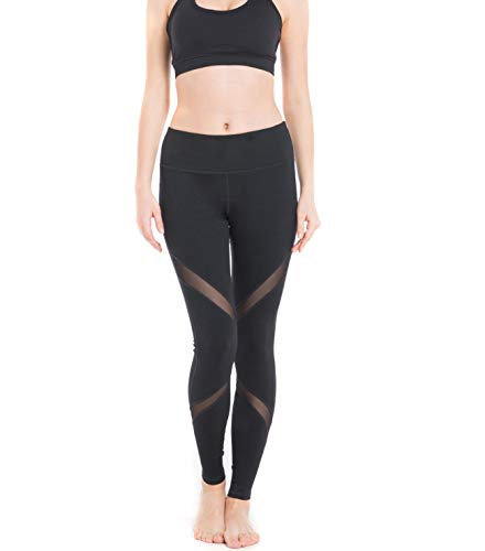 (IMIDO Women's Yoga Capri Pants Sport Tights Workout Running Mesh Leggings with Side Pocket (L, Black Mesh))