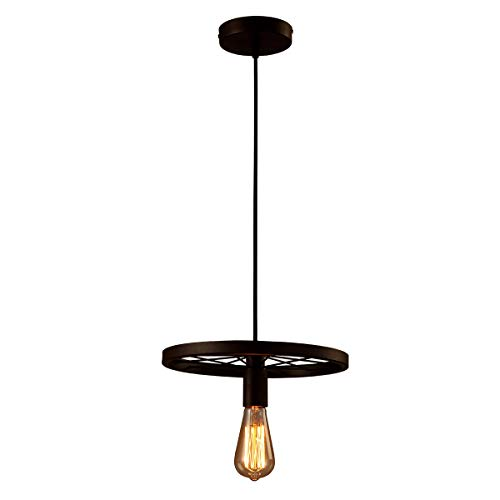 GlanzLight GL-61071,Antique Pendant Lamp 1 Light,Downlight Pendant Lamp Round,Adjustable Circle Hanging Light Metal Black