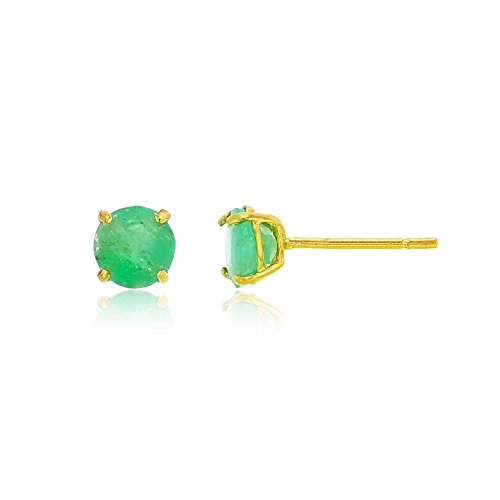 Emerald Green Natural (10K Yellow Gold 4mm Round Emerald Stud Earring)