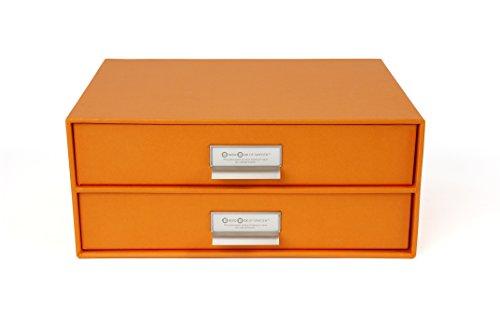 Bigso 2-Drawer Birger File Storage Box, Orange - Orange Box Furniture