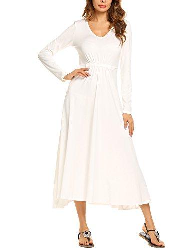 Beyove Women's Casual Long Sleeve V-neck Plus Size Flowy Gowns Maxi Dress White XXL