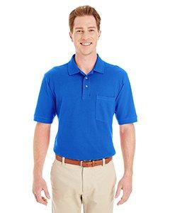 Harriton Ringspun Cotton Piqué Short-Sleeve Pocket Polo (M200P) -TRUE ROYAL -L
