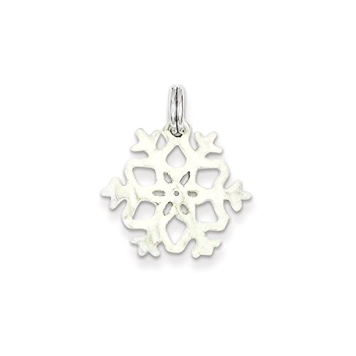 Solid Sterling Silver Enameled Snowflake Charm Pendant (Enameled Snowflake Charm)