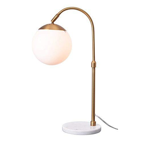 Shade Glass Marble (Lampworks Table Lamp Marble Base Bedside Lamp White Globe Glass Lampshade Metal Bracket Desk Lamp Modern Simple Design Light for Bedrooms Living Room(Bulb Not Included))