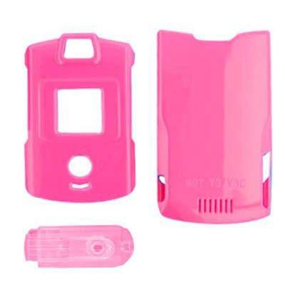 Crystal Clear Transparent Snap-on Hard Protector Skin Cover Cell Phone Case for Motorola RAZR V3 V3a V3s V3m Alltel,Cricket,MetroPCS,Sprint,US Cellular,Verizon - Pink