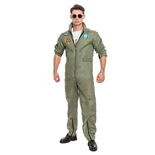 6dad053f5d25 Men s Flight Pilot Adult Costume with Accessory for Halloween Top Gun Party  (X-Small