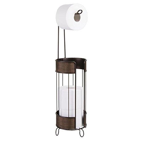 mDesign Decorative Free-Standing Wire Metal Toilet Tissue Paper Roll Holder Dispenser Storage Organizer Holding Extra Reserve Rolls in Bathroom - Bronze MetroDecor 7883MDBST