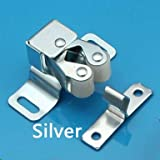 50pcs 47x16mm Wholesale Cabinet Door Catches of various color Drawer Latch Home Safely Security Door Stopper With Screw - (Color: Silver)