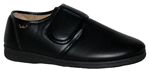 Dr Keller - Zapatillas de estar por casa para hombre negro negro negro/velcro