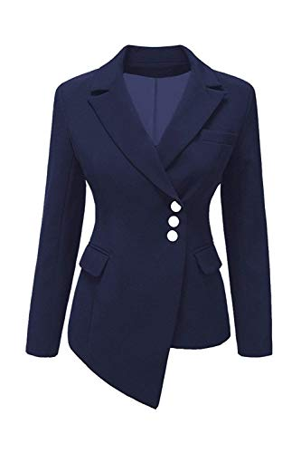 Da Slim Leisure Tailleur Donna Manica Autunno Fit Lunga Monocromo Offlce Breasted Single Irregular Giacca Outerwear Blu Suit Bavero dZqCq
