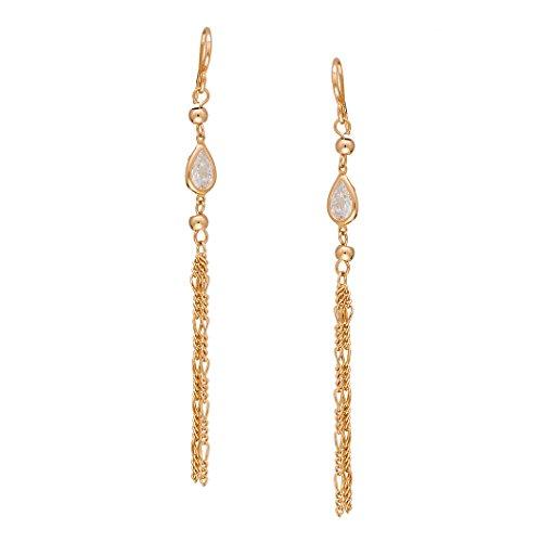 Romantic Time Rose Love 18k Rose Gold Plated Tassels French-back Dangle Earrings