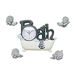 New Haven Bath Clock with Four Shells, Black