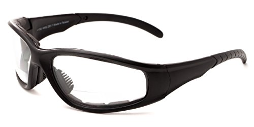 Readers.com Clear Bifocal EVA Safety Goggles +1.50 Black Frame with Clear Lenses Padded Bifocal Safety Goggles & Glasses Clear Lenses Sport & Wrap-Around Reading Glasses