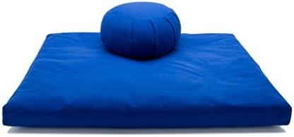 Royal Blue Kapok Zafu & Cotton Zabuton Meditation Cushion Yoga Pillow 2 pc Set