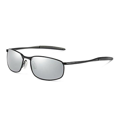 Sol black Clásico Retro de silver Plata de Tonos Gafas Sol Gafas Vintage polarizadas Hombres TL Hombres Gris Sunglasses UV400 Yf0wTxI