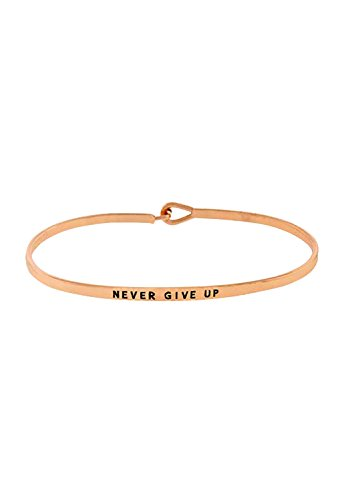 """Rosemarie Collections Women's Inspiring Thin Hook Bangle Bracelet Rose Gold Color """"Never Give Up"""""""