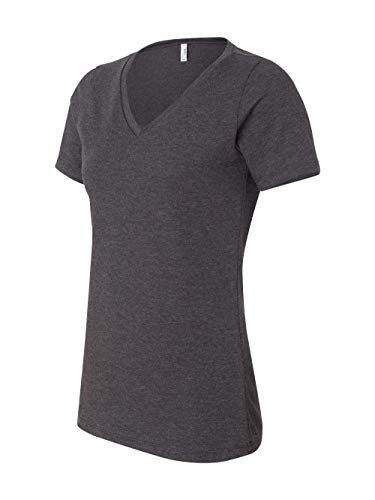 Bella 6405 Ladies Relaxed Jersey Short-Sleeve V-Neck Tee - Dark Grey Heather, Extra Large