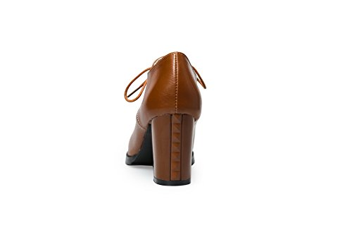 BalaMasa da donna Solid lace-up high-heels gomma pumps-shoes, Marrone (Brown), 35