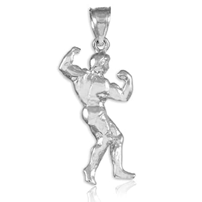 Full Bodybuilder 925 Sterling Silver Sports Pendant