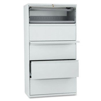 (HON 885LQ 800 Series Five-Drawer Lateral File, Roll-Out/Posting Shelves, 36 x 67, Lt Gray)