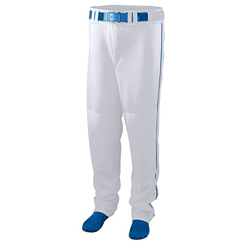 Augusta Sportswear 1446 Boys' Series Baseball Pants with Piping, Small, White/Royal ()