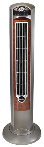 (Lasko T42954 Wind Curve Portable Electric Oscillating Stand Up Tower Fan with Remote Control for Indoor, Bedroom and Home Office Use, Woodgrain, 13x13x42.5, Wood)