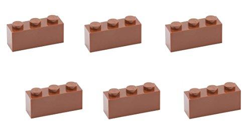 - Lego Parts: Brick 1 x 3 (PACK of 6 - Reddish Brown)