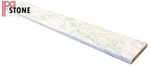 White Carrara Marble Saddle - Size 36 x 6 Inch - Polished by White Carrara Marble Threshold