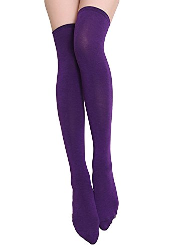 Womens Girls Thigh High Striped Cotton Socks Over Knee Stockings-Purple, Over the Knee/Extra Long ()