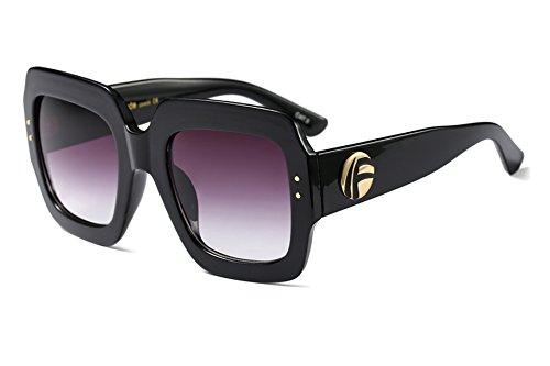 FEISEDY Oversized Square Sunglasses Multi Tinted Glitter Frame Stylish Inspired - Sunglasses Glitter