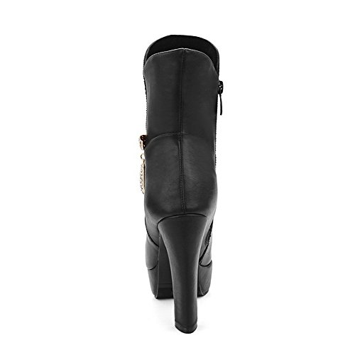 Allhqfashion Women's Closed Toe Blend Materials Solid Boots Black-pu Xn7zcbooA