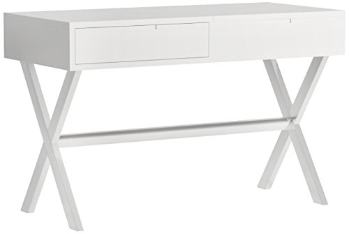 MIX High Gloss Lacquer Wood Stainless Steel Legs White Rectangular Lift-Top Desk Vanity Table with Hidden Storage and (Hidden Mirror Storage)