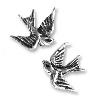 Tattoo-style ''Swallow'' Stud Earrings