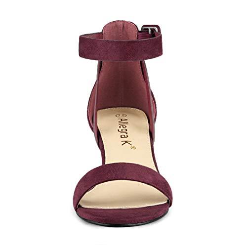 Para K Borgoña Tacón De Mujer Con Sandalias Allegra Bajo Tobillo Correa gWPF8qB