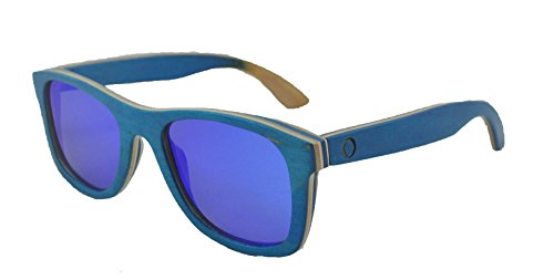 Skateboard Wooden Sunglasses for Men or Women, Wood Sun Glasses in Blue with Natural and Light Brown Layers and Mirror Blue Polarized Lenses, Trendy Wood Frame Sunglasses, Wayfarer Sunglasses - Sun Sunglasses In