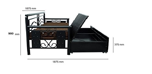 Incredible Royal Interiors Matte Finish Metal Sofa Cum Bed With Hydraulic Storage King Size Black And Brown Gmtry Best Dining Table And Chair Ideas Images Gmtryco
