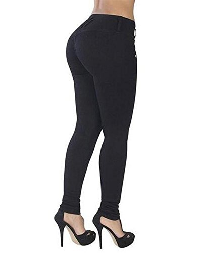 Mujer Leggings Cintura Alta Elásticos Pantalones Jeggings Negro