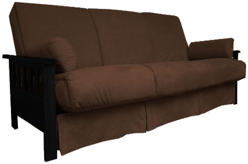 Epic Furnishings Berkeley Perfect Sit & Sleep Pocketed Coil Inner Spring Pillow Top Sofa Sleeper Bed, Full-size, Black Arm Finish, Microfiber Suede Chocolate Brown Upholstery (Sofa Sleeper Mission)