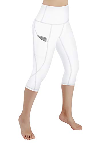 ODODOS Women's High Waist Yoga Capris with Pockets,Tummy Control,Workout Capris Running 4 Way Stretch Yoga Leggings with Pockets,White,XX-Large