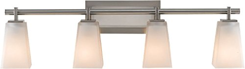 Feiss VS16604-BS Clayton Glass Wall Vanity Bath Lighting, Satin Nickel, 4-Light (31.5